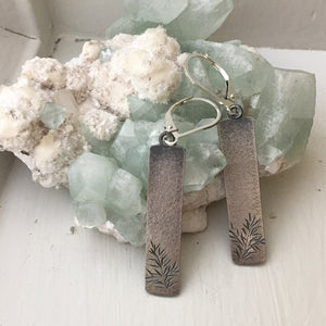 Oxidized Silver Spruce Earrings