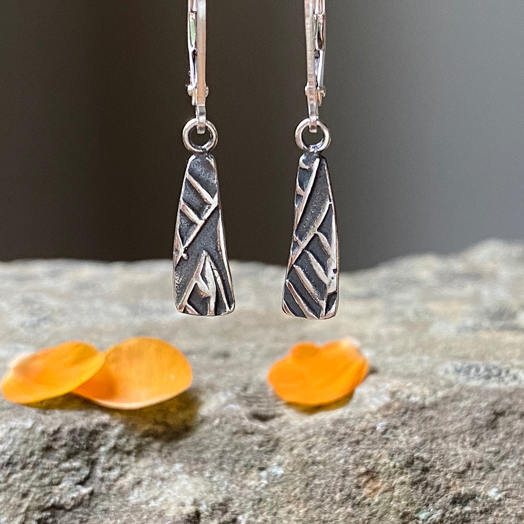 Oxidized Silver Stick Earrings