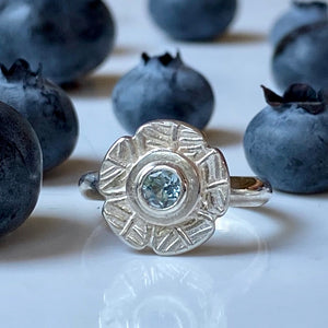 silver, flower, ring, blue topaz