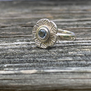 silver, flower, ring, gemstone, blue topaz