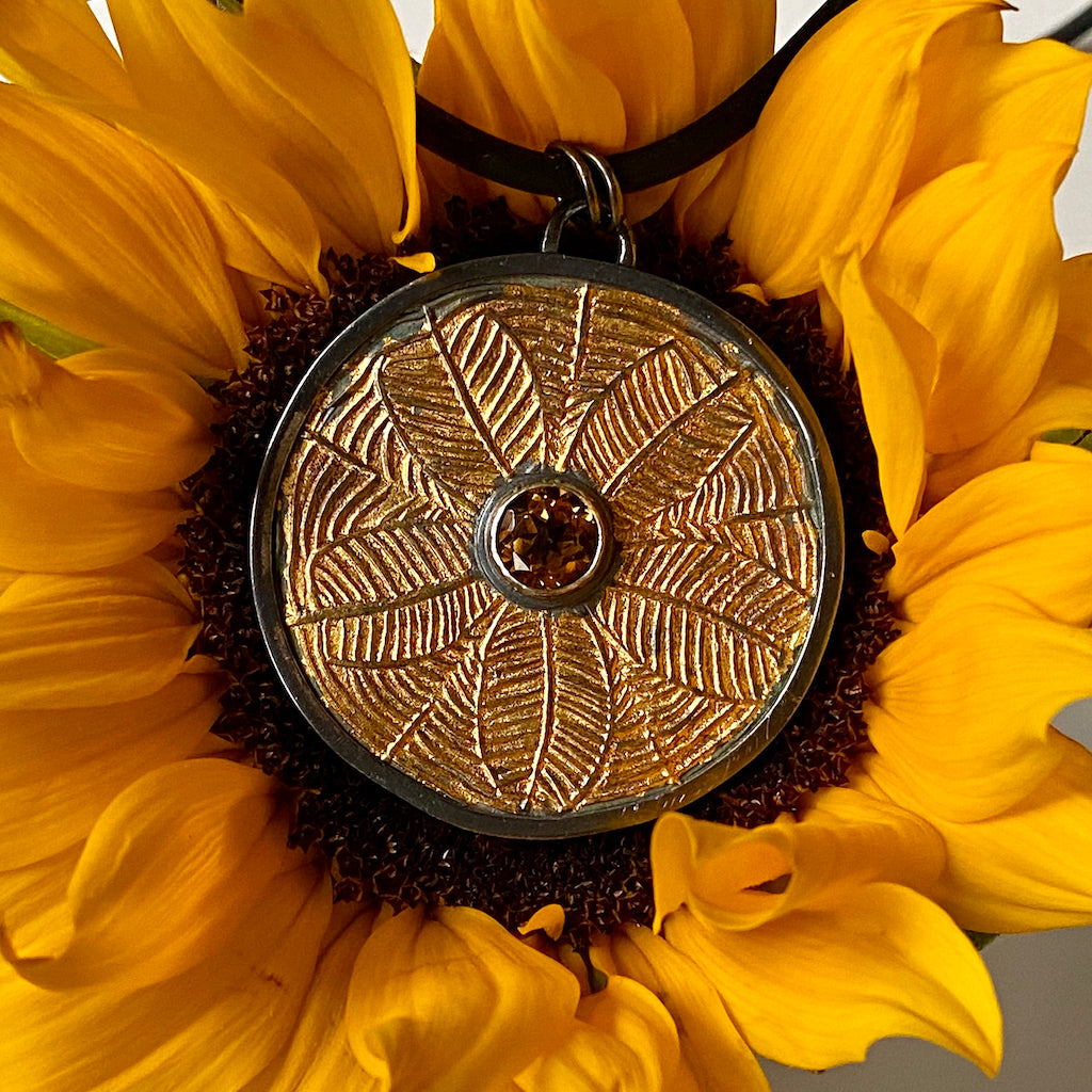 Silver, gold, keum-boo, citrine, necklace, sunflower, oxidized