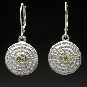 Textured Spiral Earrings with Gemstones