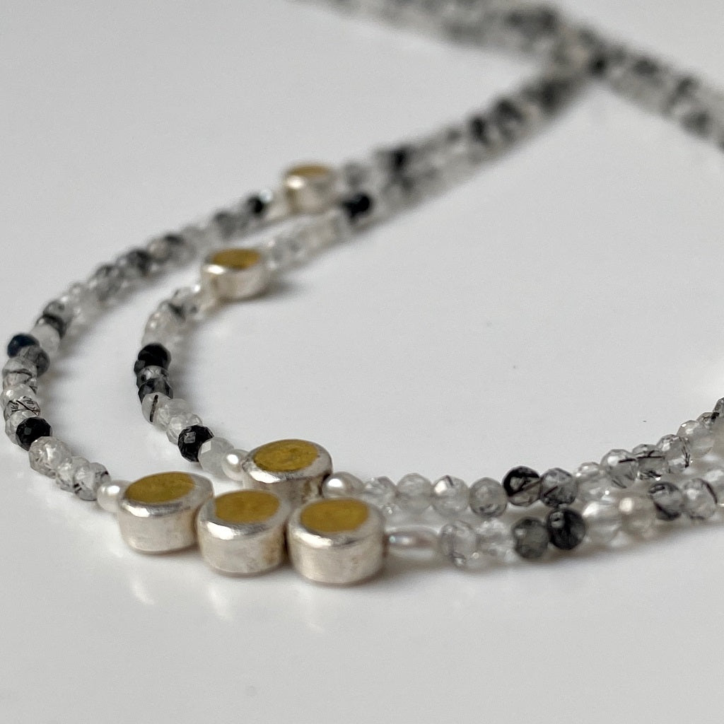 tiny bead, necklace, silver, gold, gemstone