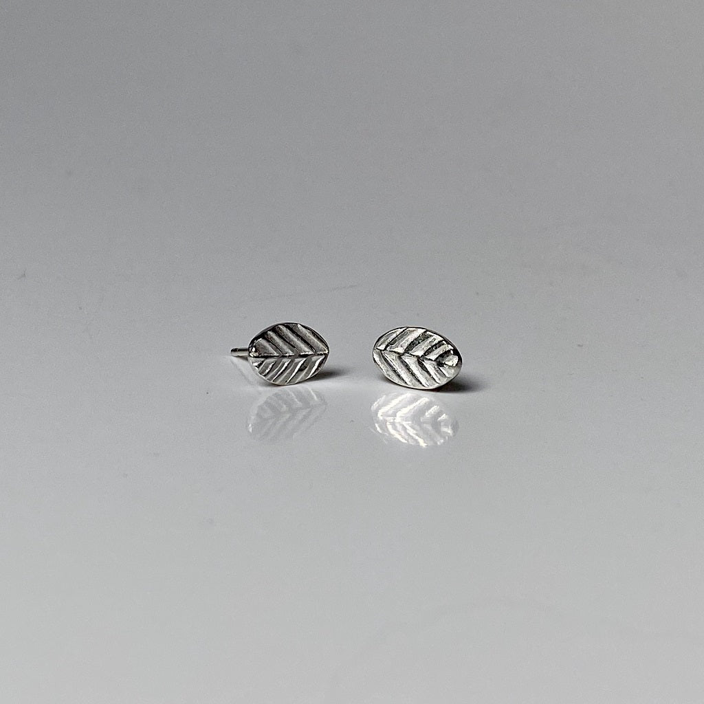 silver, studs, earrings, leaf