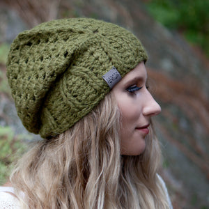 Moss Green Cherish Pom Pom Hat Baby Alpaca Crochet Knit Hat Canada Bliss Hot Accessories Celebrity Fashion Style Beanie Fall Winter Fashion