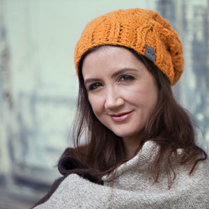 Orange Cherish Pom Pom Hat Baby Alpaca | Crochet Knit Hat | Beanie for Winter