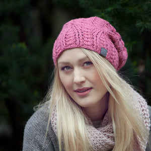 Rose Cherish Hat Baby Alpaca | Crochet Knit Hat | Beanie for Winter