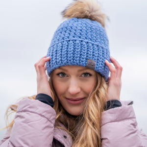*NEW* Signature Pom Pom Hat | Blue Denim Chunky Merino | Fur Pom Pom