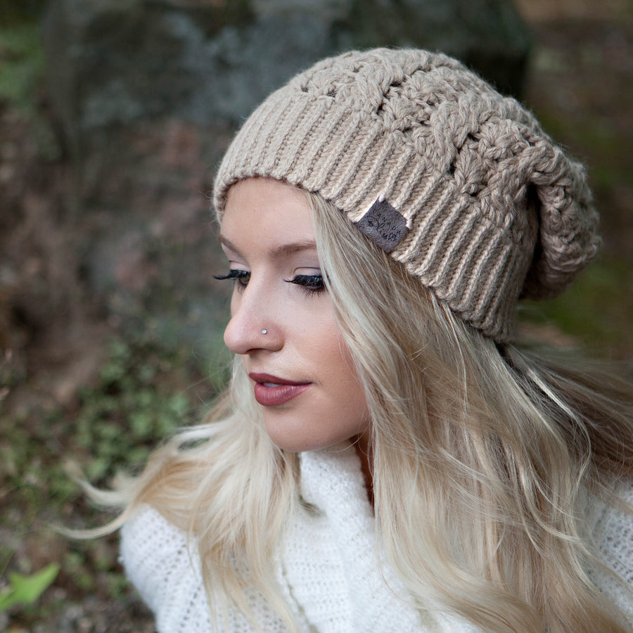 Beige Dreams Pom Pom Hat Baby Alpaca Crochet Knit Hat Canada Bliss Hot Accessories Celebrity Fashion Style Beanie Fall Winter Fashion