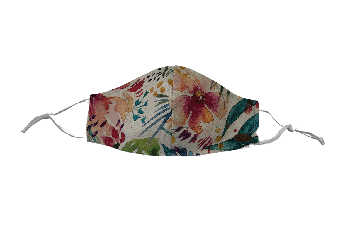 Canada Bliss Paradise NEW ADJUSTABLE Face Mask #132 | One of a Kind Washable, Reusable, Double-Layer, Handmade Premium Linen & Cotton | Paradise Collection