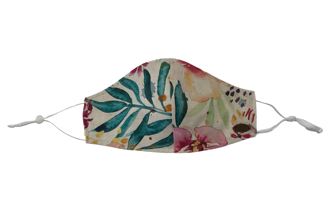 Canada Bliss Paradise NEW ADJUSTABLE Face Mask #134 | One of a Kind Washable, Reusable, Double-Layer, Handmade Premium Linen & Cotton | Paradise Collection