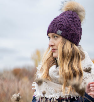 *NEW* Divine Pom Pom Toque | Merlot Purple Alpaca | Fur Pom Pom Hat