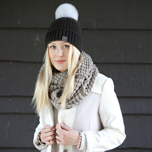Signature Pom Pom Hat | Light Black Merino | Fur Pom Pom