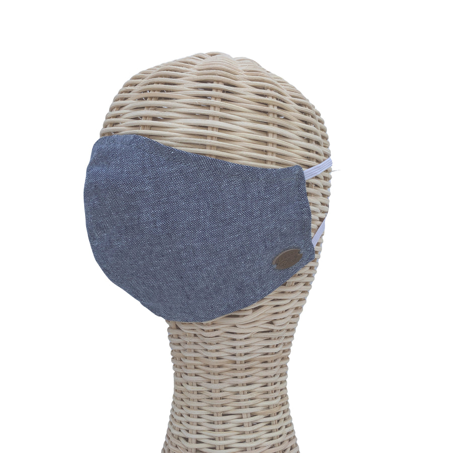 Blue Chambray Face Mask | Double-Layer Face Masks | Handmade Face Masks | Cotton Face Masks | Canada Bliss Face Masks