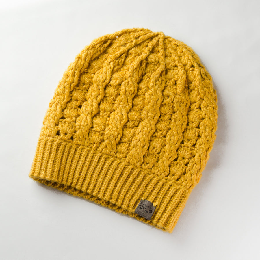 Dreams Pom Pom Hat | Yellow Baby Alpaca | Fur Pom Pom Hat