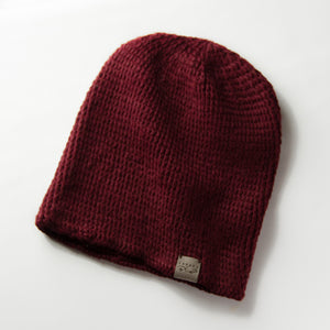 Burgundy Fundamental Slouchy Unisex Crochet Knit Hat Canada Bliss Hot Accessories Celebrity Fashion Style Beanie Pom Pom Hat Fall Winter Fashion