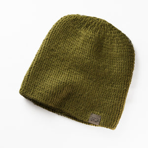 Fundamental Pom Pom Hat Toque | Moss Green Alpaca | Fur Pom Pom