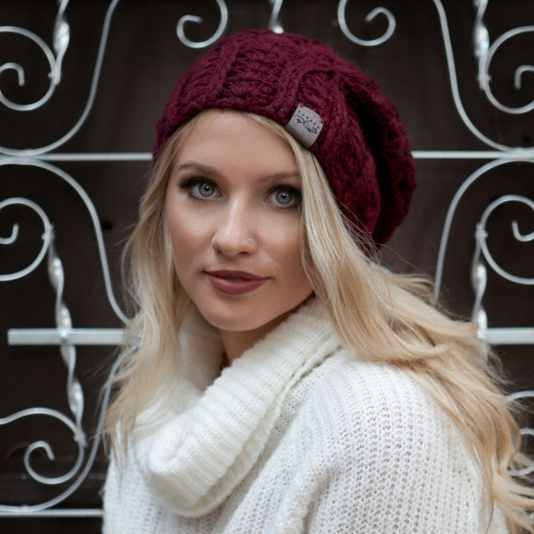 Burgundy Cherish Pom Pom Hat Baby Alpaca Crochet Knit Hat Canada Bliss Hot Accessories Celebrity Fashion Style Beanie Fall Winter Fashion