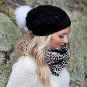 Pom Pom Hat | Crochet Knit Hat | Beanie Fall Winter Fashion
