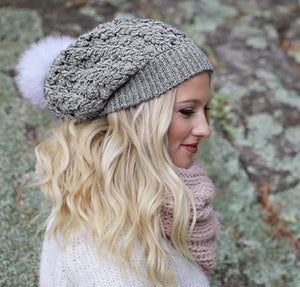 Dreams Pom Pom Hat | *NEW* Silver Baby Alpaca | Fur Pom Pom Hat