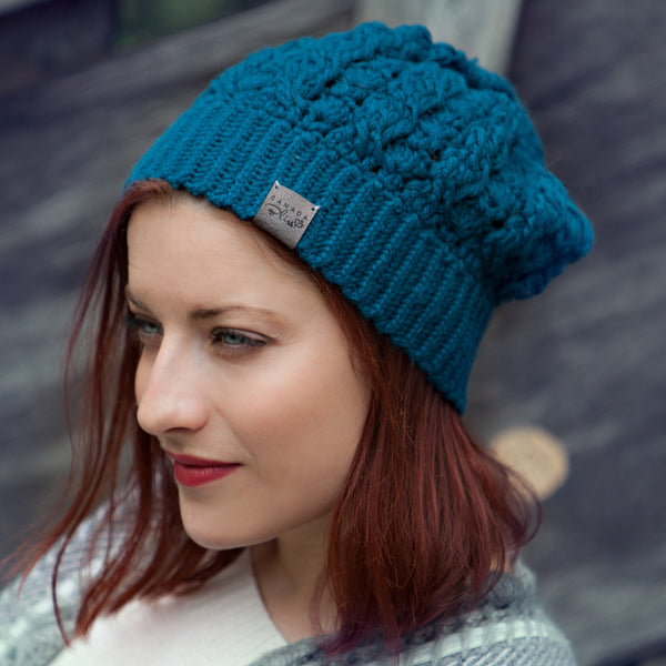 Teal Dreams Pom Pom Hat Baby Alpaca Crochet Knit Hat Canada Bliss Hot Accessories Celebrity Fashion Style Beanie Fall Winter Fashion