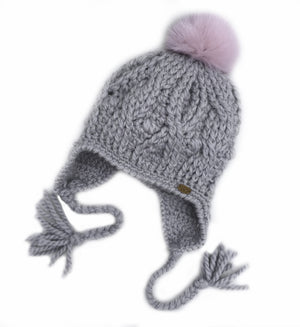 Silver Expedition Earflop Pom Pom Hat Baby Alpaca Crochet Knit Hat Canada Bliss Hot Accessories Celebrity Fashion Style Beanie Fall Winter Fashion