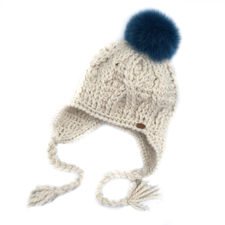 7d07993b793 Cream Expedition Earflap Pom Pom Hat Baby Alpaca Crochet Knit Hat Canada  Bliss Hot Accessories Celebrity