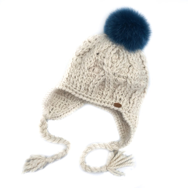 Cream Expedition Earflap Pom Pom Hat Baby Alpaca Crochet Knit Hat Canada Bliss Hot Accessories Celebrity Fashion Style Beanie Fall Winter Fashion