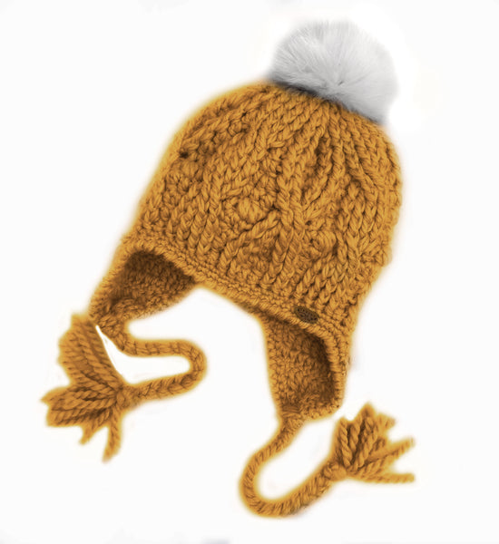 Mustard Expedition Earflop Pom Pom Hat Baby Alpaca Crochet Knit Hat Canada Bliss Hot Accessories Celebrity Fashion Style Beanie Fall Winter Fashion