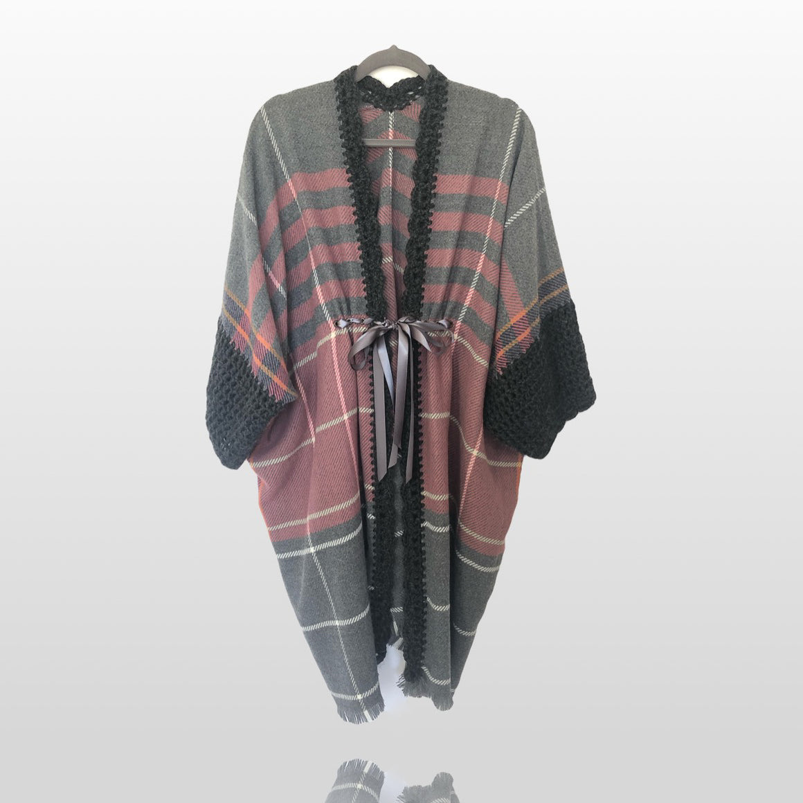NEW Canada Bliss Crochet Kimono Duster | Grey Rose Stripe