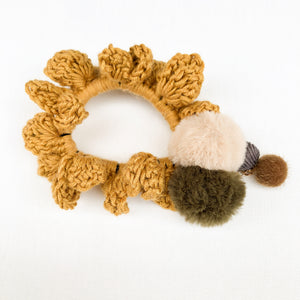 Crochet Blossom Hair Scrunchie | Mustard Shade | Handmade Canada Bliss Hair Accessory