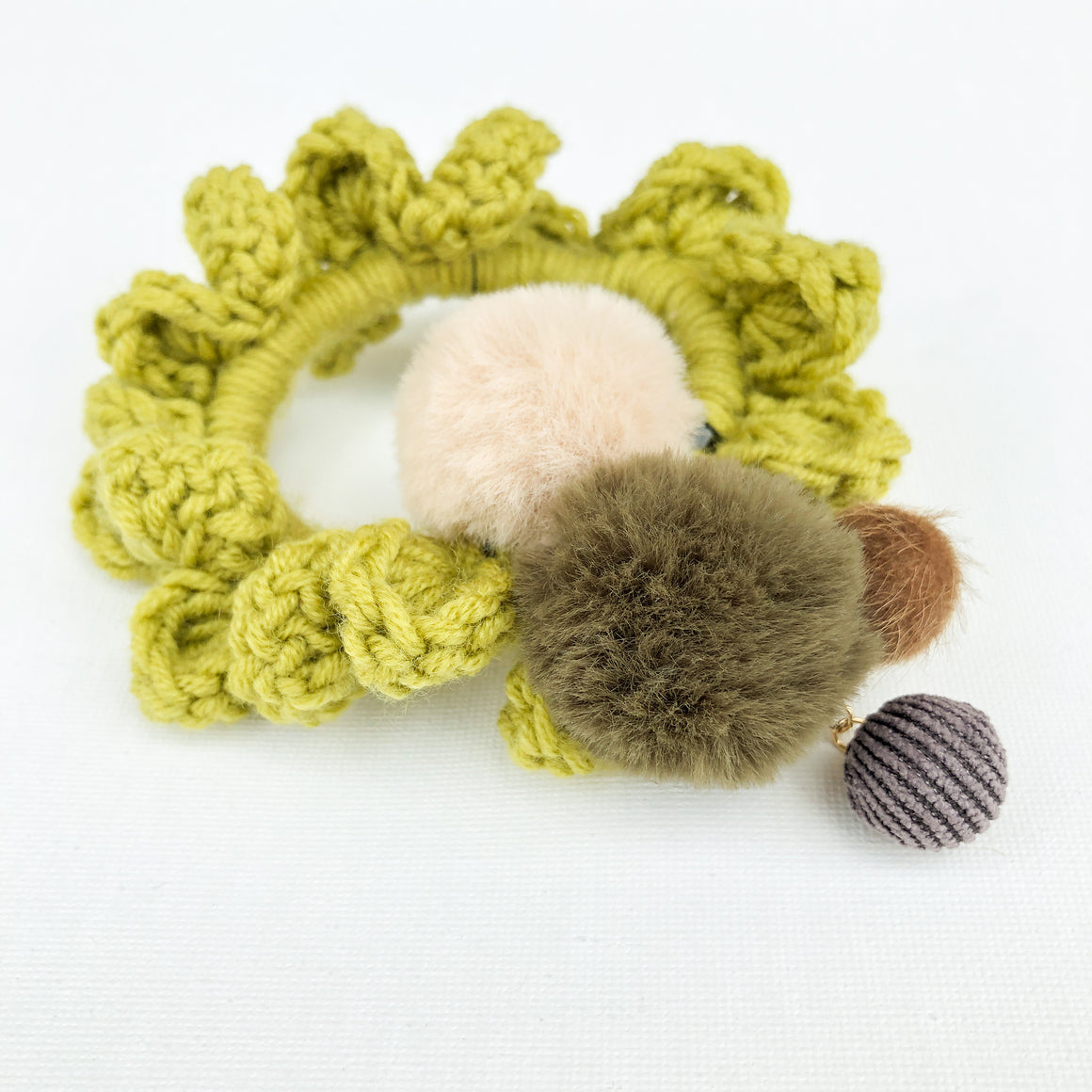 Crochet Blossom Hair Scrunchie | Light Olive Shade | Handmade Canada Bliss Hair Accessory