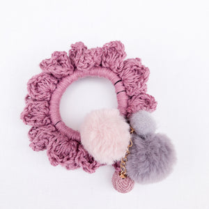 Crochet Blossom Hair Scrunchie | Rose Shade | Handmade Canada Bliss Hair Accessory
