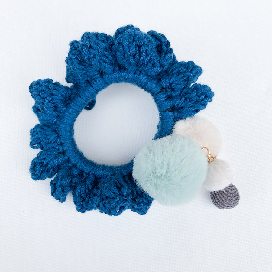 Crochet Blossom Hair Scrunchie | Rich Teal Shade | Handmade Canada Bliss Hair Accessory