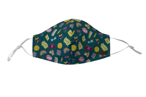 Canada Bliss Face NEW ADJUSTABLE Mask | Washable, Reusable, Double-Layer, Handmade Premium Cotton | Retro Emoji