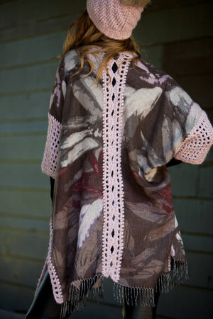 NEW Canada Bliss Crochet Kimono Duster | Rose Floral