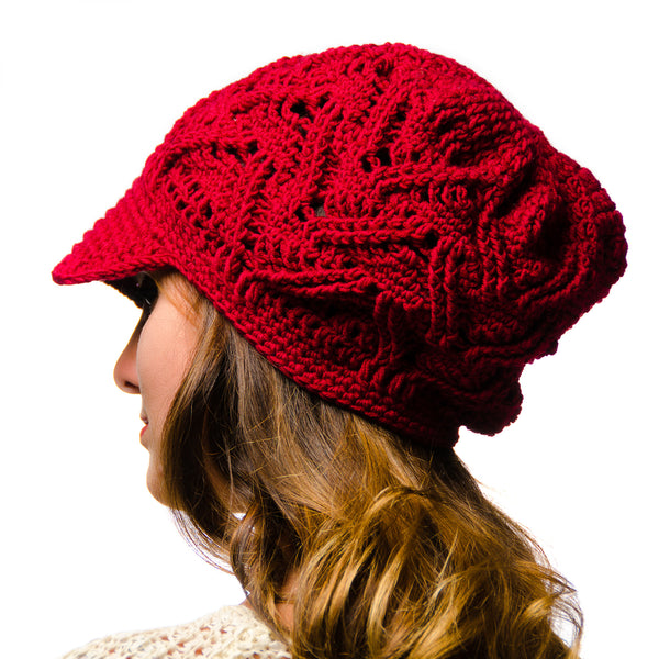 Red Piquant Newsboy Hat Merino Wool Crochet Knit Hat Canada Bliss Hot Accessories Celebrity Fashion Style Fall Winter Fashion