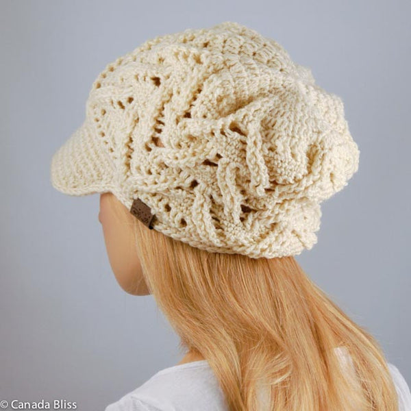 Cream Piquant Newsboy Hat Merino Wool Crochet Knit Hat Canada Bliss Hot Accessories Celebrity Fashion Style Fall Winter Fashion