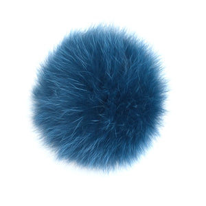 Navy Fox Fur Pom Pom Hat Crochet Knit Hat Canada Bliss Hot Accessories Celebrity Fashion Style Beanie Fall Winter Fashion