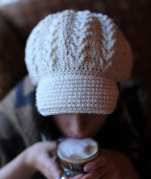 Pointe Newsboy Hat Cream Mulberry Silk Merino Wool Crochet Knit Hat Canada Bliss Hot Accessories Celebrity Fashion Style Fall Winter Fashion