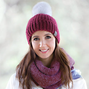 Burgundy Signature Pom Pom Hat Merino Wool Crochet Knit Hat Canada Bliss Hot Accessories Celebrity Fashion Style Beanie Fall Winter Fashion