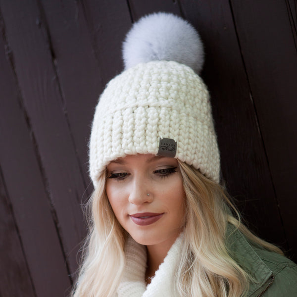 Cream Signature Pom Pom Hat Merino Wool Crochet Knit Hat Canada Bliss Hot Accessories Celebrity Fashion Style Beanie Fall Winter Fashion