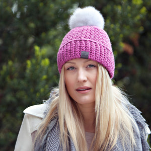Plum Signature Pom Pom Hat Merino Wool Crochet Knit Hat Canada Bliss Hot Accessories Celebrity Fashion Style Beanie Fall Winter Fashion