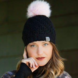 **BLACK IS BACK!** Tranquility Pom Pom Hat | Black Baby Alpaca | Fur Pom Pom