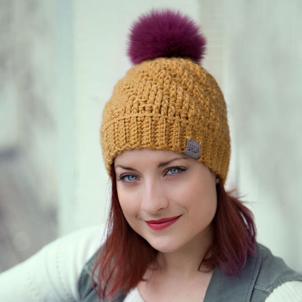 Mustard Tranquility Pom Pom Hat Baby Alpaca Crochet Knit Hat Canada Bliss Hot Accessories Celebrity Fashion Style Beanie Fall Winter Fashion