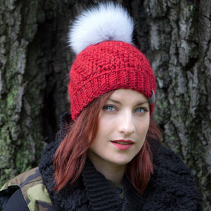 Red Tranquility Pom Pom Hat Baby Alpaca Crochet Knit Hat Canada Bliss Hot Accessories Celebrity Fashion Style Beanie Fall Winter Fashion