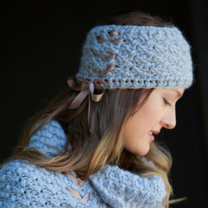 Bijou Ribbon Headband | Handmade Alpaca with satin ribbon | Handmade Crochet Knit | Winter Fashion for women