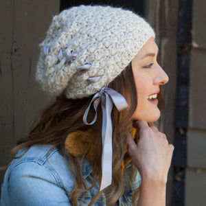 Bijou Ribbon Toque | Handmade Alpaca with satin ribbon | Handmade Crochet Knit | Winter Fashion for women