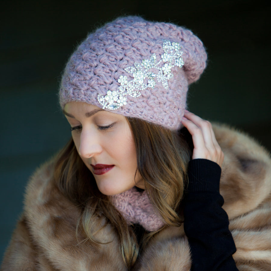 Bijou Floral Toque | Hand Made Baby Alpaca Hat with Rhinestone & Crystal