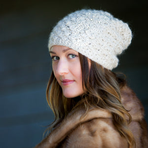 Bijou Constellation Toque | Hand Made Baby Alpaca Hat with Rhinestone & Crystal